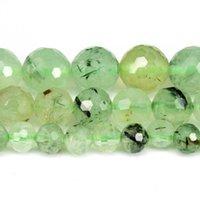Doğal Sert Faceted Yeşil Prehnite Yuvarlak Gevşek Boncuklu Strand 6/8/10 / 12mm Takı DIY Yapma Kolye Bilezik