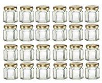 Bulk 24st 1.5oz 45ml Mini Hexagon Glasburkar med guld / Silver / Svarta lock, för sylt, honung, godis, krydda sylt
