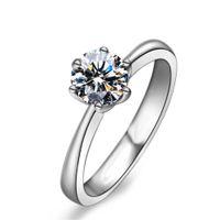 Luxo Clássico Seis Clássicas Tocha Diamante Anel de Diamante Superfície Sem Trace Inlaid com Ultra Flash Anel Zircon, Simples e