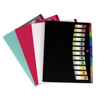 12 bolsillos A4 carpeta de archivos Estudiantes Pruebas de papel Carpeta de papel plástico Portátil Carpeta de documentos Clasificación Carpetas de clasificación (4 colores) MY-INF0624 25 V2