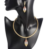Earrings & Necklace High Quality Nigerian Wedding Women's Fashion Boutique Water Drop Pendant Gilded Luxury Exaggerated Bridal Jewelry Set