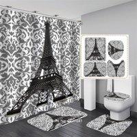 샤워 커튼 3-4 조각 욕실 세트 낭만적 인 에펠 탑 방수 커튼 비 슬립 카펫 화장실 커버 쿠션