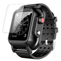 Sportgurt wasserdicht robuster Fall mit Silikon-Armband für Apple Watch-Serie SE 6 5 4 3 auf IWATCH 38/22/40 / 44mm Schwimmkohlensymbol Schutzbänder abdecken
