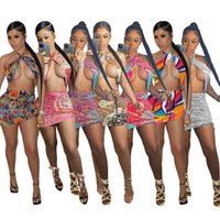 Womens Dresses Summer Designer Fashion Sexy Print Breast Wrapped Bandage Hip Wrapped Dress Open Back Nightclub Skirts