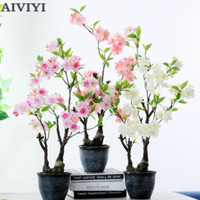 Decorative Flowers & Wreaths Cherry Blossom Bonsai Artificial Plant Flower Fake With Pot Home Decoration Wedding Decor Tree