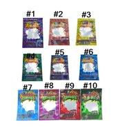 Full 10 Colors Hologram 500MG Edibles Dank Gummies bags Packaging Worms Edible Bears Cubes Gummy baggies Smell Proof Mylar Bag