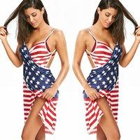 Dames Strand Backless Jurken Gestreepte Strappy Knielengte Mini Jurken Amerikaanse Vlag Onafhankelijkheid Nationale Dag USA 4 juli zomerjurk