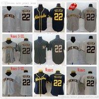 Mann Frauen Jugend Kinder 2021-22 Baseball 22 Christian Yelich Jerseys Gray Beige Weiß Top Qualität Jersey