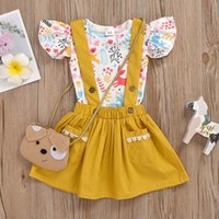 Clothing Sets Baby Girl's Set Heart Print Short Sleeve T-shirt And Suspender Skirt Yellow Suit For Birthday Party Summer
