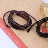Pulseiras de couro marrom preta pulseiras multicamadas ajustar braceletes trançado pulseira punhos homens pulseiras e areia jóias de moda