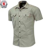 Camisas fredd marshall homem militar homens curta muw cargo 100% katoen casual sólido homens de bolso 55889