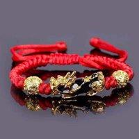 Браслеты очарования Буддизм Feng Shui Red Bracele Bracelet Мужчины Женщины Унисекс Храбкие войска Браслет Золото Черный Pixiu Богат