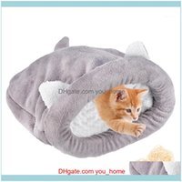 Beds Furniture Supplies Home & Gardencute Pet Cats Sleeping Bag Warm Cozy Coral Fleece Bed Ered Snle Sack For Cat Puppy And Other Small Pets