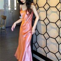 Ordifree 2021 Sommer Frauen Lange Satin Slip Kleid Spaghetti Strap Partykleid Vintage Rosa Gold Schwarz Seide Sexy Maxi Kleid 210303