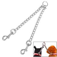 الفولاذ المقاوم للصدأ مزدوجة الرأس الكلب المقاود التوأم الرصاص حزام الجر سلسلة الحيوانات الأليفة للمشي اثنين الكلاب 2.5 * 40 سنتيمتر GWE9306