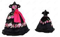 Vintage Black 3D Floral Flowers Little Girls Pageant Dresses 2021 Ball Gown Velvet Short Sleeves Cheap Flower Girl First Communion Dress