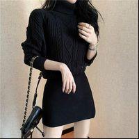 Clothes Autumn Winter Long Sleeve Womens Dresses Turtleneck Solid Sweater Fashion Elegant Ladies knit Vintage Robe