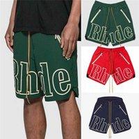 RHUDE SHORTS homens mulheres 1: 1 alta qualidade grande letra rhude shorts oversize breetcloth amarelo cordão pílula zíper cabeça x0601