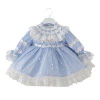2021 봄 키즈 소녀 파티 드레스 레이스 활 파란색 긴 소매 메쉬 공주 드레스 결혼식 공식적인 옷을 수행 2586 Y2