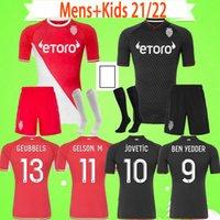 Adulto + Kids Kit 2021 2022 Mônaco Ben como Iéscido Volland Diop Futebol Camisetas Jovets Criança Futebol Camisa 21 22 Crianças Maillot Flocage Jorge Homens Set Uniform Boys Terno