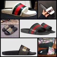 2021 mujer / hombre sandalias calidad elegantes zapatillas moda clásicos sandalia hombres mujer zapatillas zapatos planos Slide UE: 35-45 con caja Shoe02 08