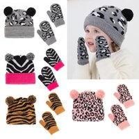 Beanies Toddler Kids Baby Hats And Gloves Set Winter Knit Earflap Beanie Cute Warm Pom Hat Mittens
