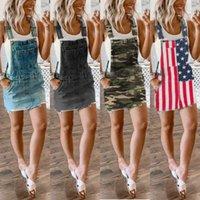 6PCS DHL Summer womens denim skirt 2021 Tiktok Fashion lady suspender skirts with strap short dress solid camouflage US flag printing overalls clothing G6922CB