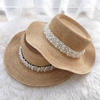 Wide Brim Hats &Dolphin Designer Fashion Women Raffia Straw Hat Summer Beach Sun Black White Pear Ribbon Cap Foldable Flat