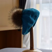 Baby Raccoon Fur Ball Cute Knitted Wool Hat Autumn and Winter Children's Warm Painter Hat
