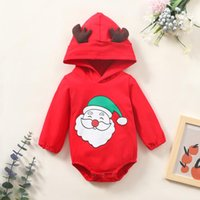 Jumpsuits Christmas Romper Born Infant Baby Clothes Boys Girls Cute Santa Deer Hodded Long Sleeve Tops 6M-24M