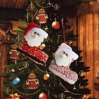 Sacos de presente de Natal Papai Noel bonito lantejoulas lantejoulas Botas tridimensionais Doces meias Xmas decoração de árvore Pingente HWD9959