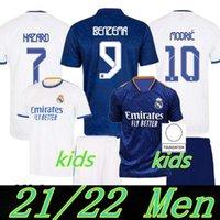 Versión de jugadores Versión Real Madrid Jerseys 22 22 Camisa de fútbol de fútbol Alaba Hazard Sergio Ramos Benzema Modric Asensio Camiseta Hombres + Kit Kids 2021 2022 Uniformes CUARTO