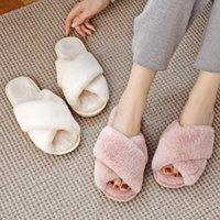 Pantoufles Bevergreen Winter Femmes Maison Feuilles Fourrure Chaud Chaussures Chaussures Femelle Slip sur la maison Fourry Mesdames Taille 36-43 Grossistes