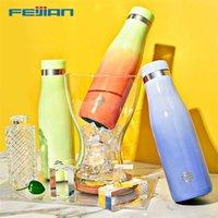 Feijian WG500 Термохромная водяная бутылка для воды 18/10 из нержавеющей стали вакуумная колба спортивная бутылка Термос Кубок кружка держит холодную BPA бесплатно 211020