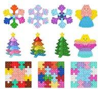 شجرة عيد الميلاد ندفة الثلج دفع البوب fingertip لعب diy الألغاز تدمير الضغط لعبة السنة الجديدة عيد الحب الديكورات الحرة dhl