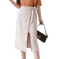 Wrap Faldas Mujer sexy alta cintura cadera media longitud sólida forma más tamaño vendaje negro rodilla longitud outfit 210601