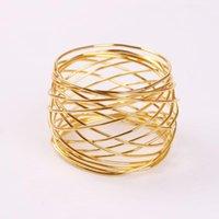 Pierścienie serwetek 6 sztuk galwanicznie złoty pierścień z rany, owinięte siatki klamra, pierścień żelaza drutu