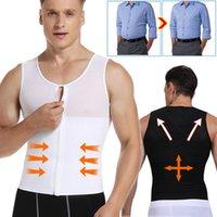 Body da uomo Shapers Kiwirata Mens Gynecomastia Dest Shaper Torace Camicia Compressione Maschile Addomen Trainer Zipper Shaperwear Sweat Plus Size