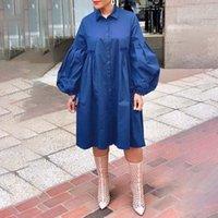 Delle Donne Abiti Dress Dress 2021 Autunno Doppia Giro in aria Lanterna Lanterna Abiti a maniche lunghe Plus Size Bohemain Vestidos Ginocchio Prendiso