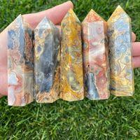 6-7cm naturale lucido pazzo pizzo agata al quarzo cristallo punto di cristallo bacchetta regalo singolo terminato torre chakra guarigione pietra preziosa decorazioni per la casa
