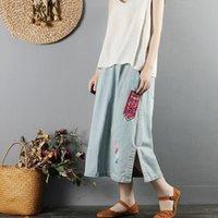 Skirts Vintage Embroidered Denim Skirt Women 2021 Large Size Elastic Waist Streetwear Jean Pencil Saia Femme 10187