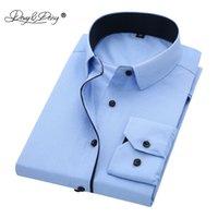 Davydaisy 뜨거운 판매 고품질 남성 셔츠 긴 소매 능직 단단한 인과 공식 비즈니스 셔츠 브랜드 맨 드레스 셔츠 DS085 210225
