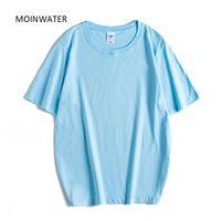T-shirt das mulheres Moinwater mulheres de grandes dimensões t camisa feminina casual 100% algodão t-shirt senhora manga curta espessura t - shirts Tops de verão MT20088