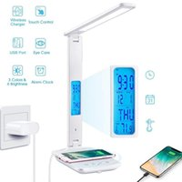 Table Lamps 10W QI Wireless Charging LED Desk Lamp With Calendar Temperature Alarm Clock Eye Protect Study Business Light