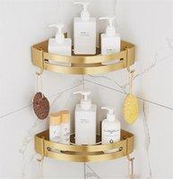Prateleiras de banheiro Tuqiu Estado de canto montado escovado ouro banho de alumínio chuveiro shampoo titular