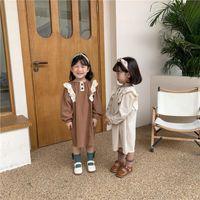 Girl's Dresses Spring Autumn Baby Girls Cotton Fashion Lace Dress Korean Style Girl Long Sleeve Round Collar Cute Linen Princess
