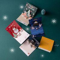عيد الميلاد 3D بطاقات المعايدة عيد الميلاد عشية تحياتي بطاقة عطلة سعيدة ثلاثي الأبعاد سانتا كلوز الأيغام ثلج FWD10565