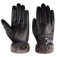 망 최고의 디자인 크리스마스 선물 두꺼운 검은 따뜻한 세척 가죽 장갑 사업 노는 터치 스크린 장갑 336 T2