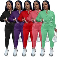 Women's baseball 2 two piece tracksuits set uniform Solid color jacket single-breasted button long sleeve coat slim pants suits Fall Winter clothes sportswear