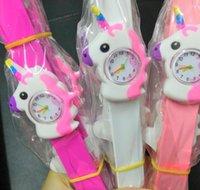 뜨거운 새로운 유니콘 3D 만화 시계 사탕 고무 손목 시계 어린이 슬랩 클랩 시계 실리콘 고무 귀여운 소녀 소년 시계 크리스마스